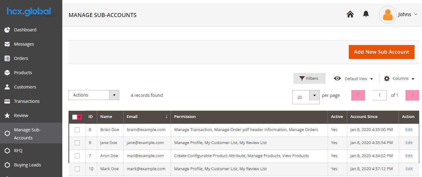HCX Global Sub Account