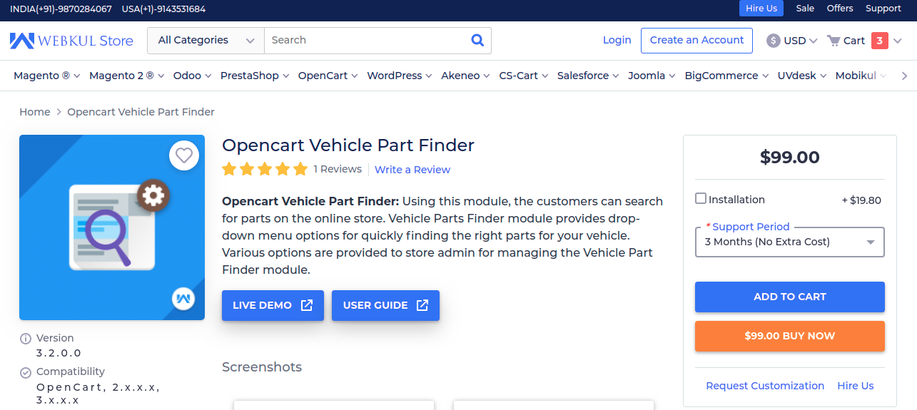 Opencart Vehicle Part Finder