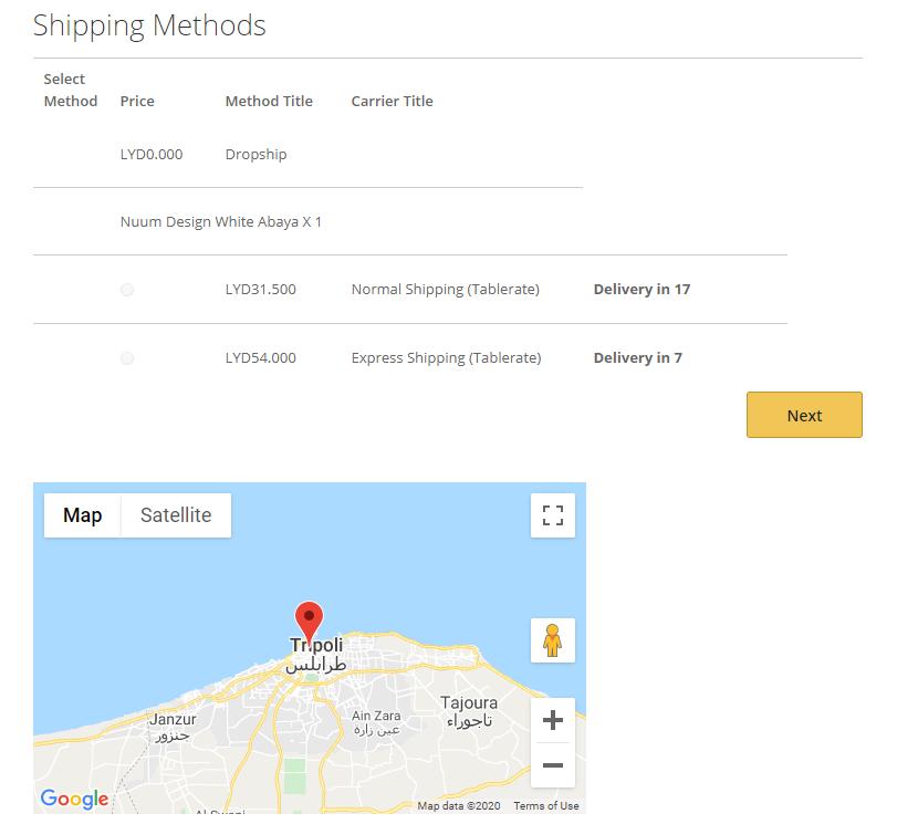 Yahla Shipping Methods