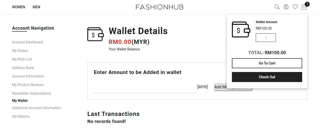 Magento 2 Wallet System