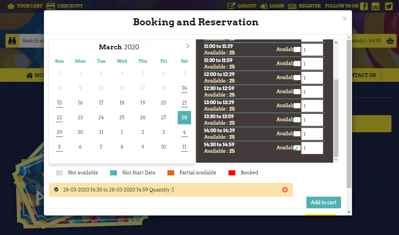Opencart Booking Slots