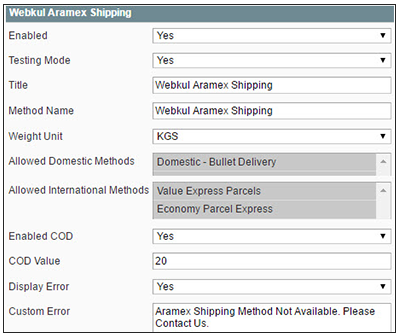 Aramex Shipping for Magento