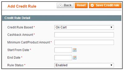 Admin Credit Rule