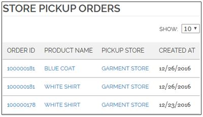 Store Pickup orders