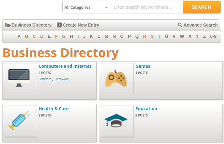 Business Directory Category front view for Users :