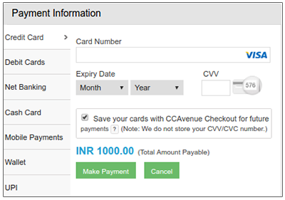 CCAvenue Checkout