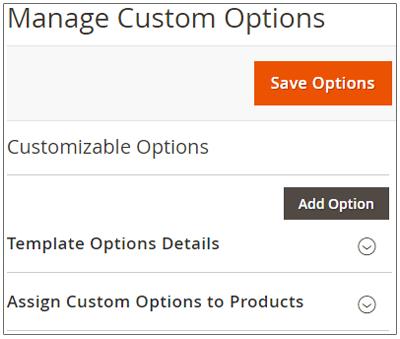 Manage Custom option Template