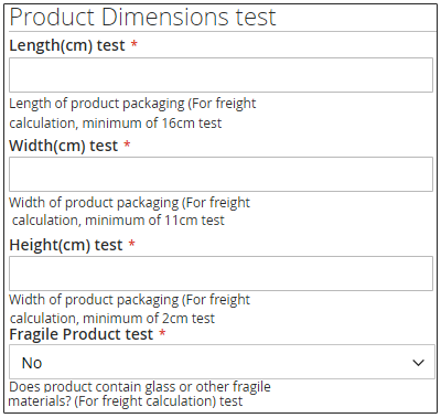 Configure Per Product Dimension