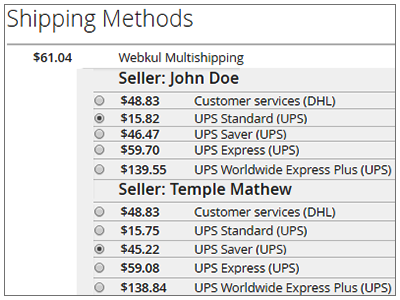 Multiple Shipping Method Selection By Buyer