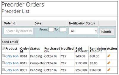 Pre-order Configuration