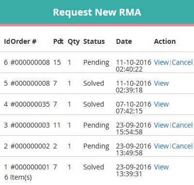 Requesting An RMA