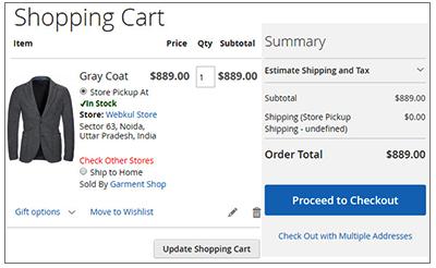 Magento2 Store Pickup Marketplace Add-On