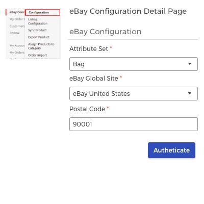 eBay seller configuration