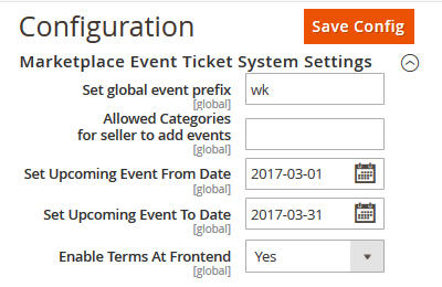 Marketplace Event Manager Module for Magento2 Configuration
