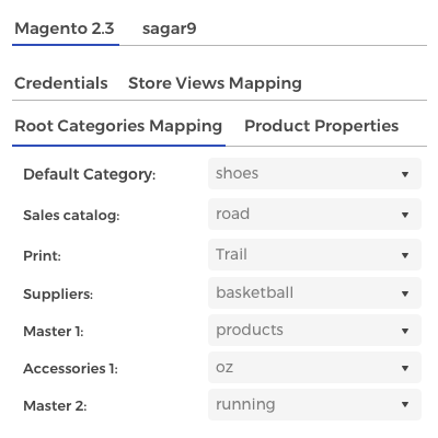 Categories mapping and export