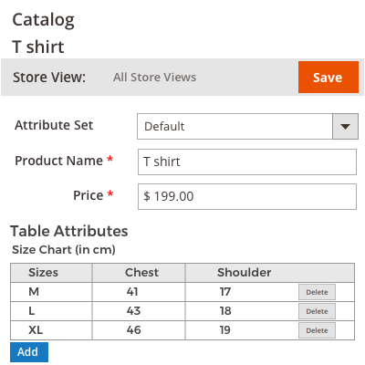 Product creation with Table Attribute