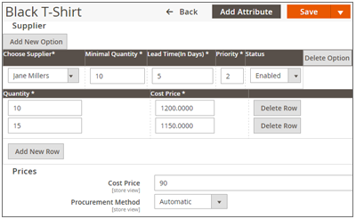 Add Suppliers & Cost Price