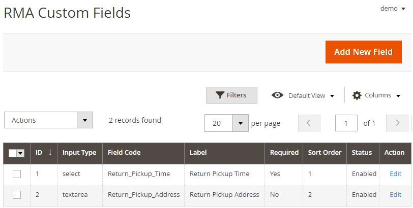 Create RMA Custom Fields
