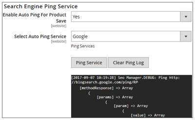 Search Engine Ping Service