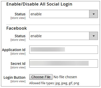 Social Signup Admin Configuration