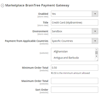 Marketplace Braintree Admin Management