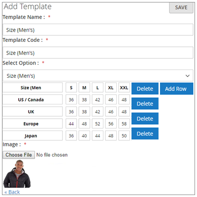 Configurable Size Chart Template