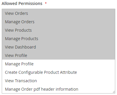 Allowed Permissions