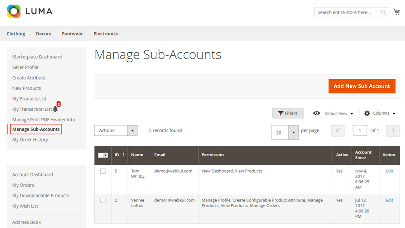 Marketplace Seller Sub-Accounts: