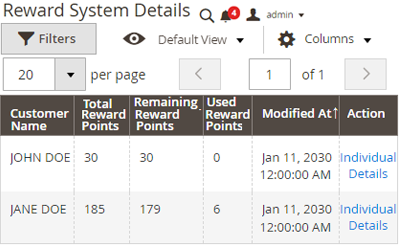 Tracking reward points – Admin end
