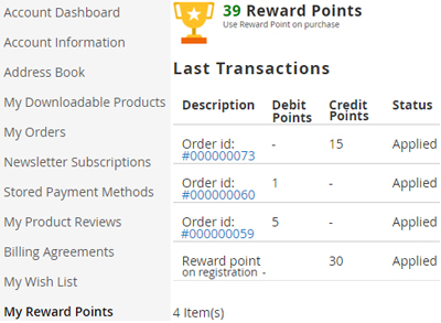 Tracking reward points – customer end