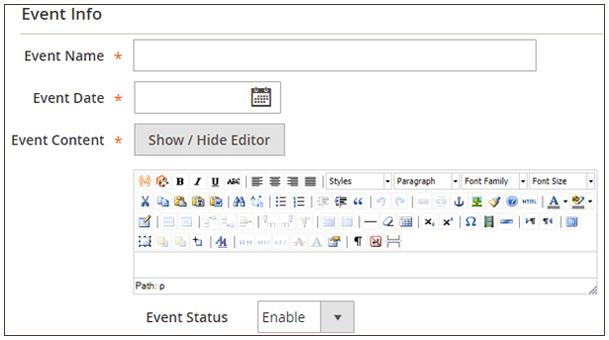 Adding Event Information