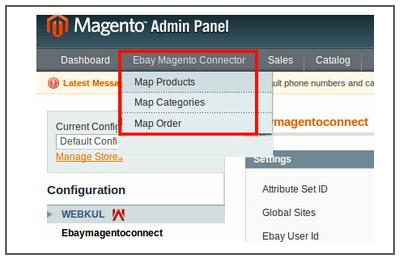 magento ebay menu
