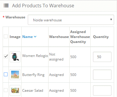 Assign Warehouse Products -