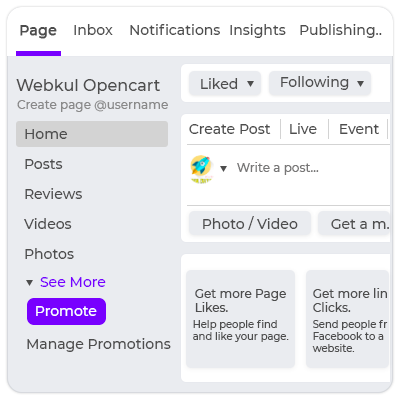 Facebook Page Configuration- Admin's End