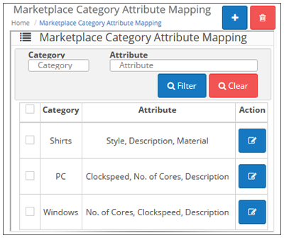 Marketplace Category Attribute Mapping