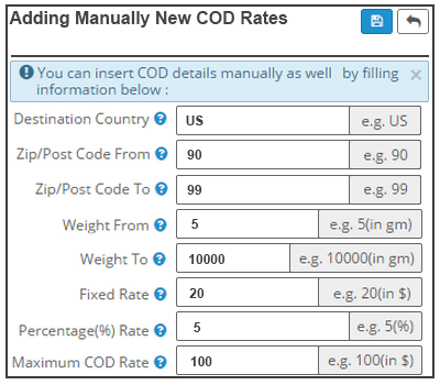 Addition Of COD Rates From Seller's End (Manual)