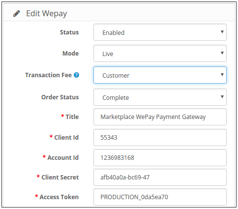 Marketplace WePay Payment Configuration