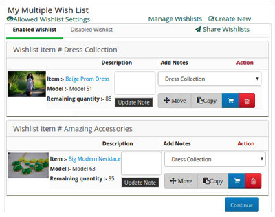 Managing Wishlists
