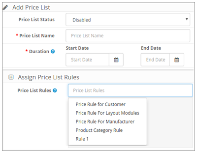 Price List for adding price rules :