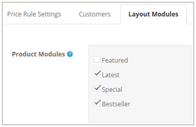 Price Rule for various Layout Modules :