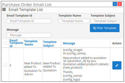Mail Template List