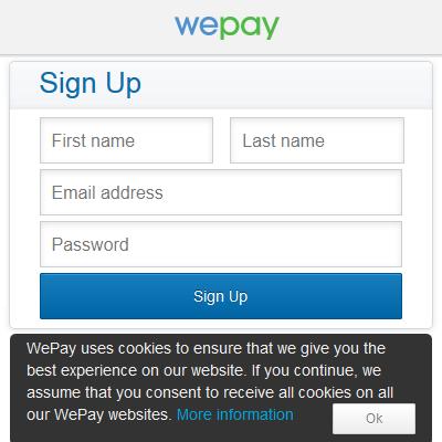 Wepay account creation