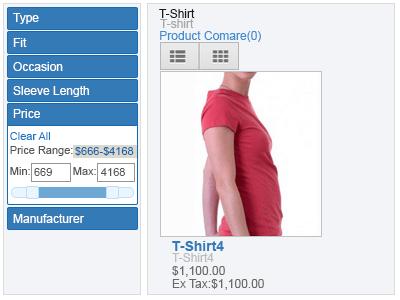 price range filter