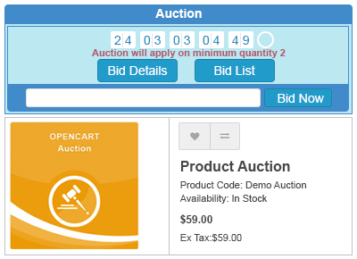 auction on product page