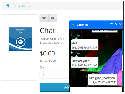 Opencart Chat Window
