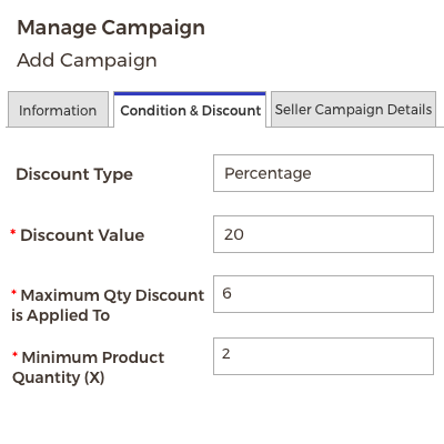 Manage Condition & Discount