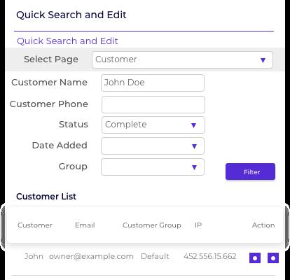Customer Page