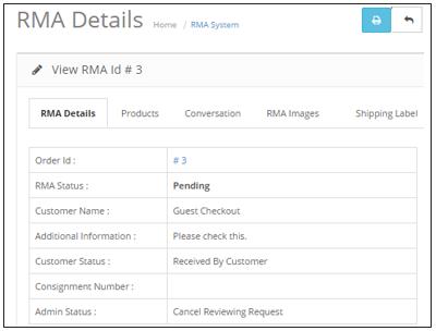 opencart RMA details