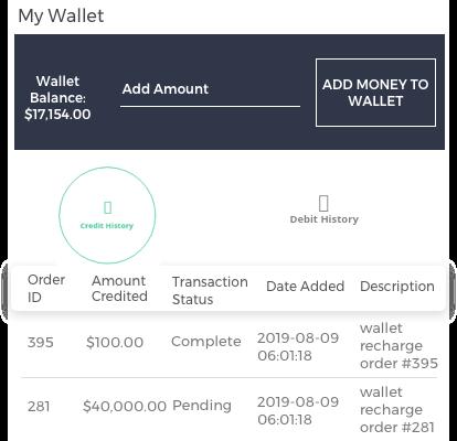 Manage Wallet - Customer End