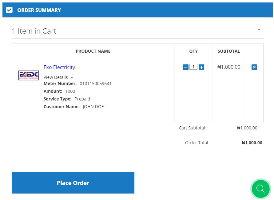 Validate Customer Account - Order Place